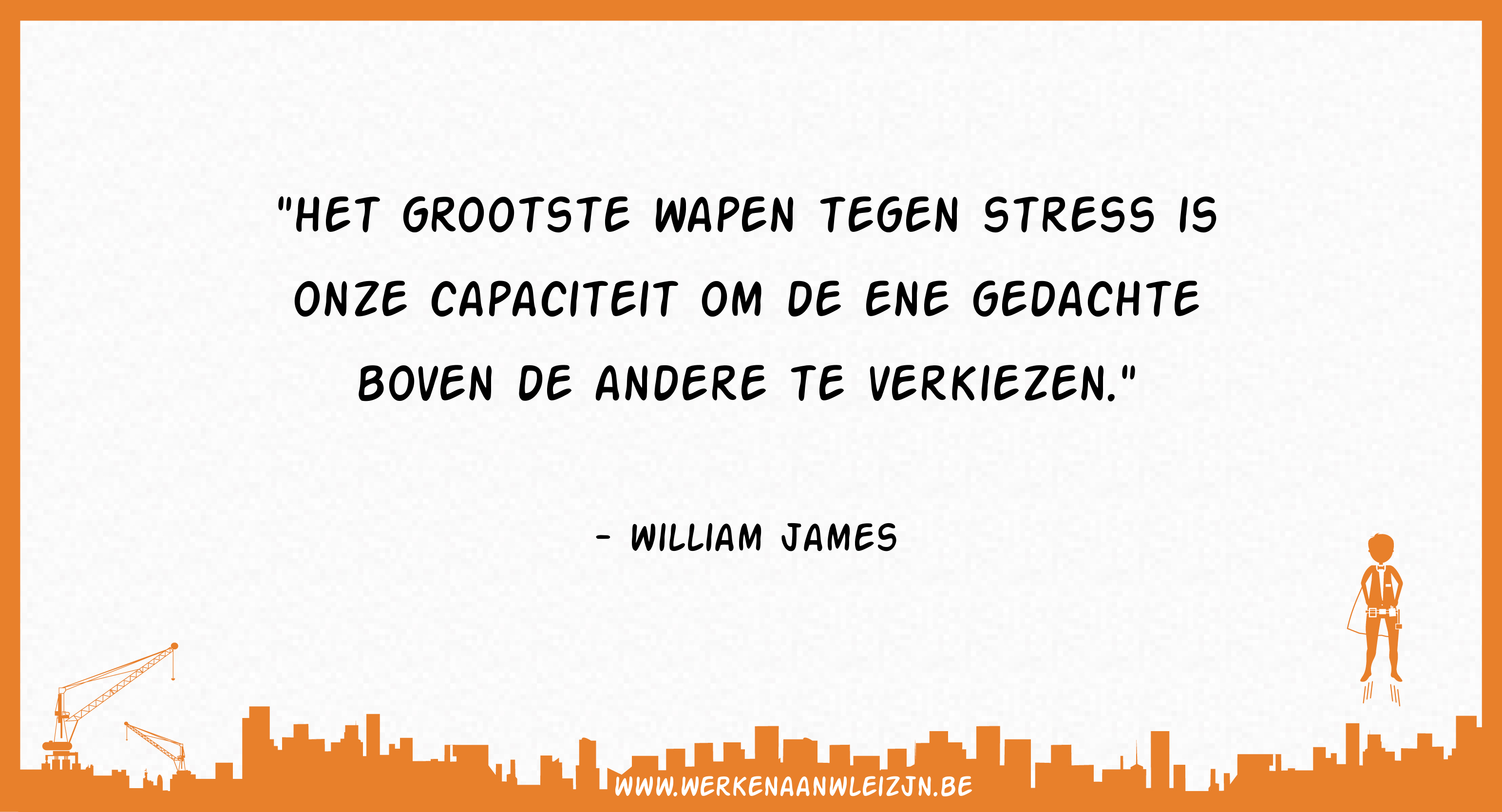 Het grootste wapen tegen stress is onze capaciteit om de ene gedacht boven de andere te verkiezen (William James)