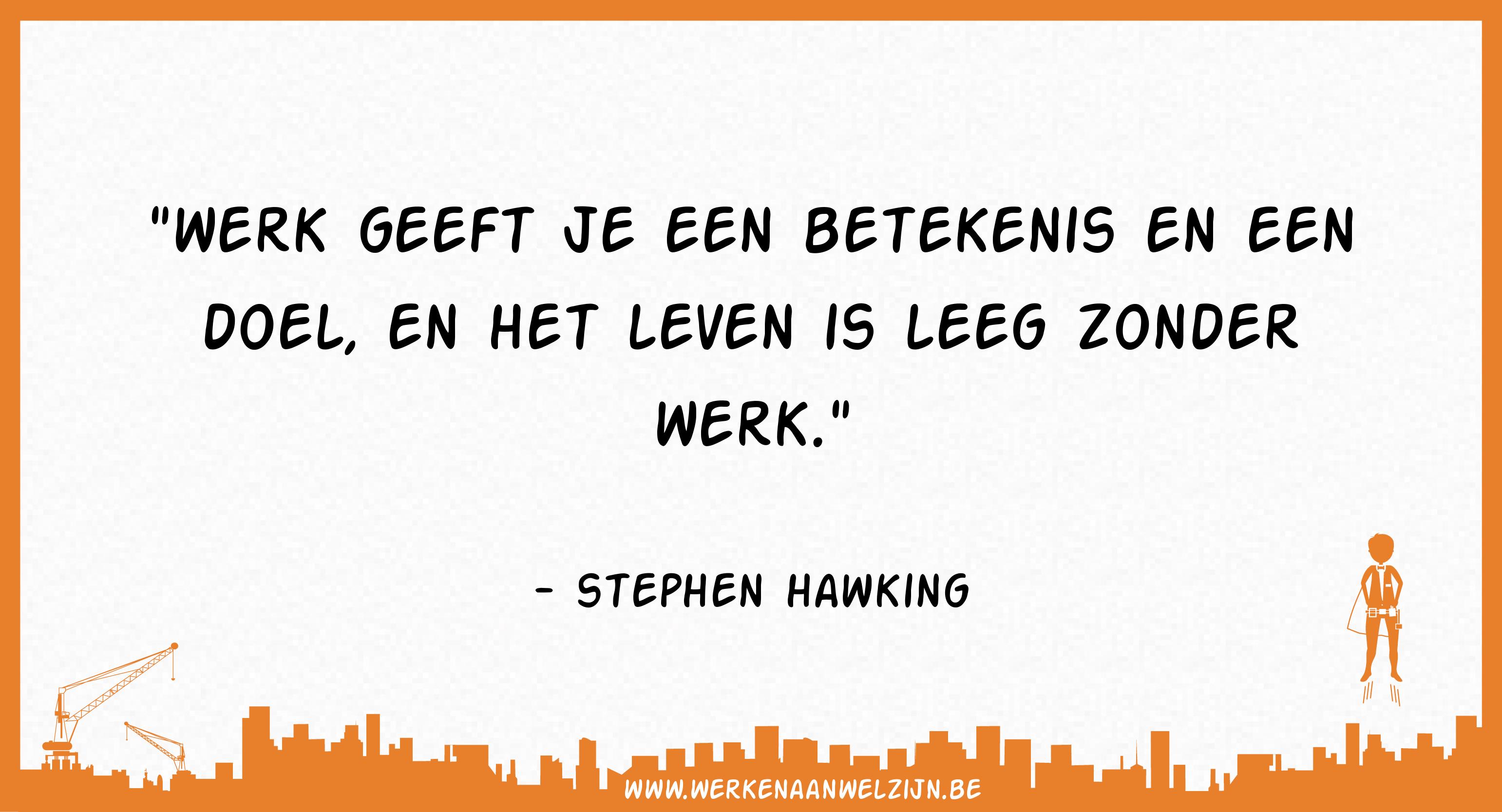 Werk geeft je een betekenis en een doel, en het leven is leeg zonder werk (Stephen Hawking)